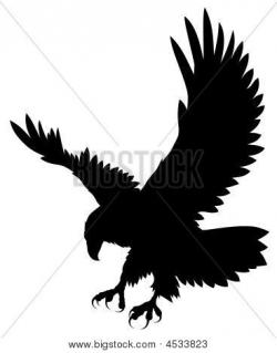 Drawn eagle flight silhouette