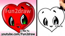 Drawn hearts cartoon