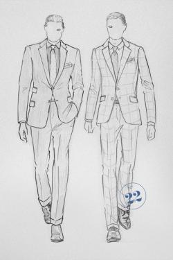 Drawn suit mens suit