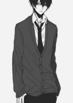 Drawn suit school boy