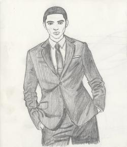 Drawn suit suit and tie