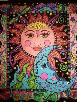 Drawn sun psychedelic