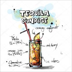 Drawn cocktail tequila