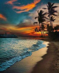 Drawn sunrise hawaii beach