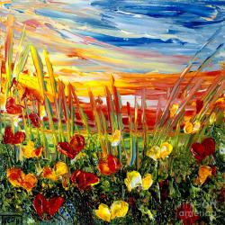 Drawn sunrise meadow