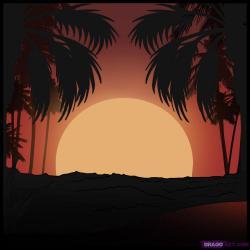 Drawn pice sunset