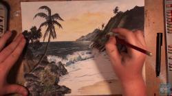 Drawn sunset seashore