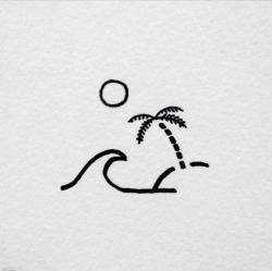 Drawn palm tree sea waves beach