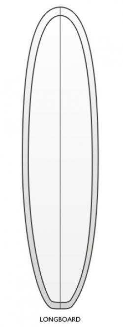 Drawn surfboard longboard