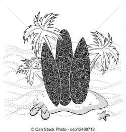 Drawn surfboard palm tree