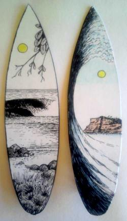 Drawn surfboard seascape