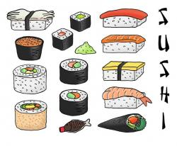 Drawn sushi food