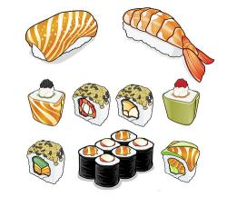 Drawn sushi illustration