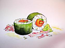 Drawn sushi realistic