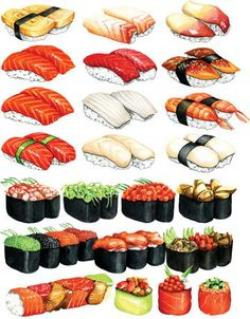 Drawn sushi sushi art