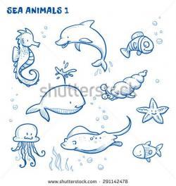 Drawn seahorse doodle