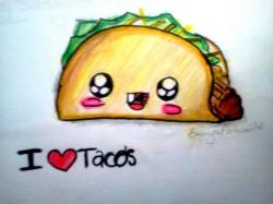 Drawn tacos face