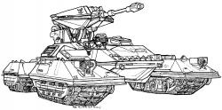 Drawn tank battle tank