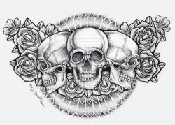 Drawn tattoo chest piece