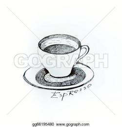 Drawn teacup espresso