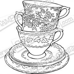 Drawn tea cup stacked