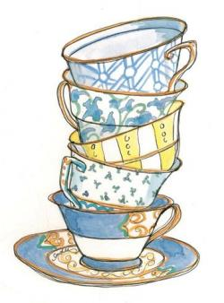 Drawn teacup stacked