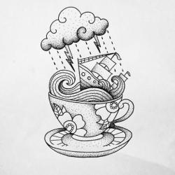 Drawn teacup storm in teacup