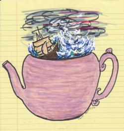 Drawn teacup tempest in