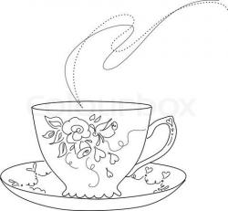 Drawn teacup vector