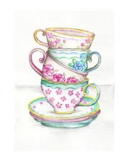 Drawn teacup vintage teacup