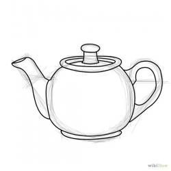 Drawn teacup teapot