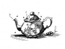 Drawn teapot alice in wonderland
