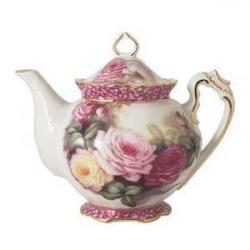 Drawn teapot floral