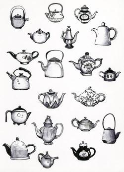 Drawn teapot tea set
