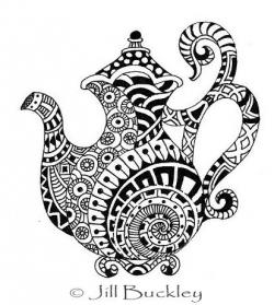 Drawn teapot zentangle