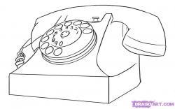 Drawn phone old telephone