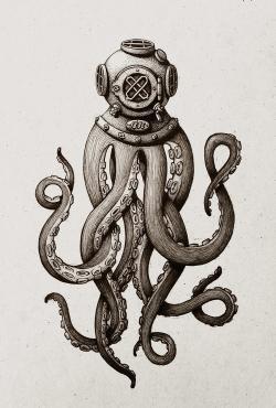 Drawn tentacle diver helmet