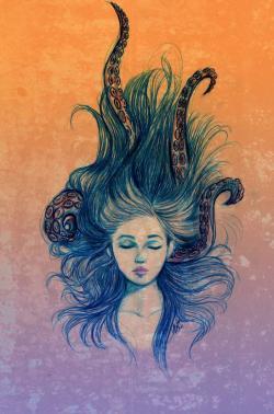 Drawn tentacle hair