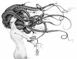 Drawn tentacle mermaid