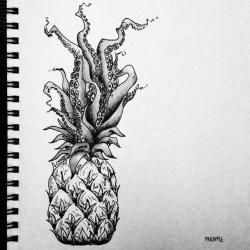 Drawn pineapple mandala