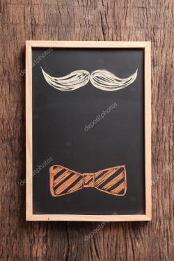 Drawn tie mustache