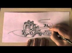 Drawn roadway pencil drawing