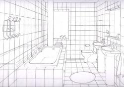 Drawn toilet perspective