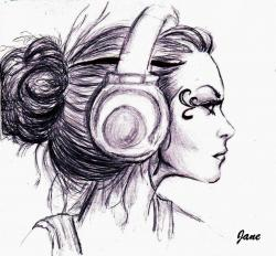 Drawn headphones punk