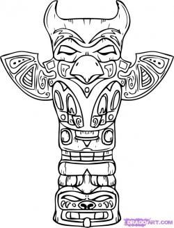 Drawn totem pole