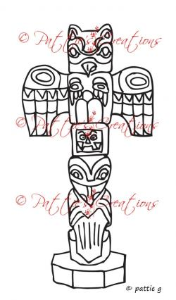 Drawn totem pole alaska
