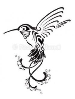 Drawn hummingbird abstract