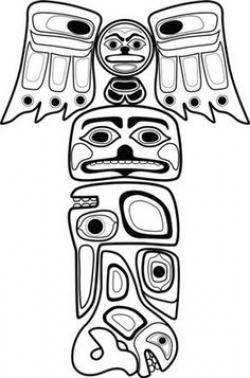Drawn totem pole inuit