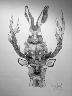 Drawn totem pole rabbit