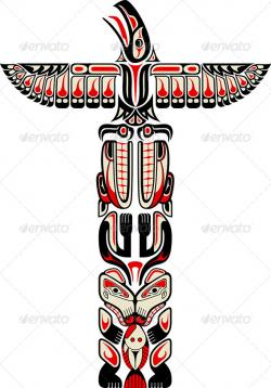 Totem Pole clipart hawk